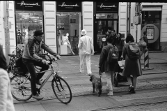 """Graz Street: Gentleman in White."" - Camera: Zorki 1, Lense: Jupiter-8 2/50 , Film: Kodak Tri-X."
